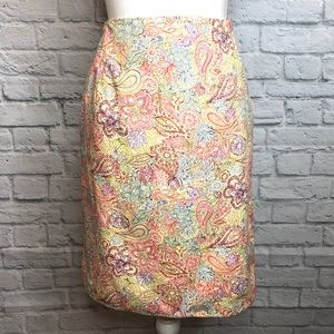 Talbots Paisley Pencil Skirt